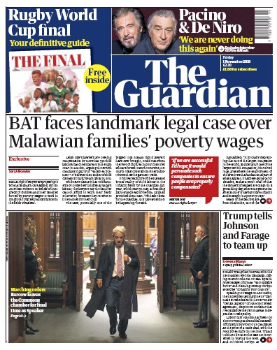 The Guardian Newspaper Front Page (UK) for 1 November 2019