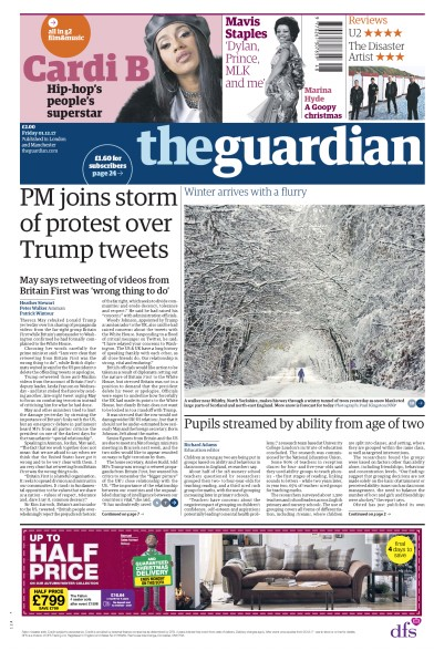 The Guardian Newspaper Front Page (UK) for 1 December 2017