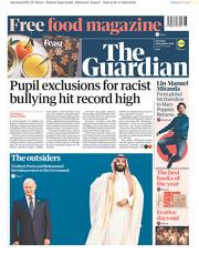 The Guardian (UK) Newspaper Front Page for 1 December 2018