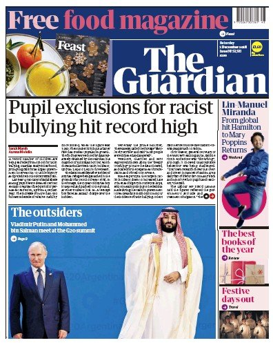 The Guardian Newspaper Front Page (UK) for 1 December 2018