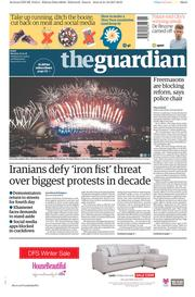 The Guardian (UK) Newspaper Front Page for 1 January 2018