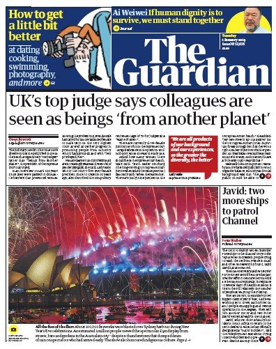 The Guardian Newspaper Front Page (UK) for 1 January 2019
