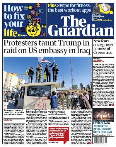 The Guardian Newspaper Front Page (UK) for 1 January 2020