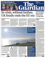 The Guardian front page for 1 January 2021