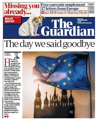 The Guardian Newspaper Front Page (UK) for 1 February 2020