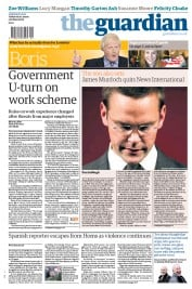The Guardian (UK) Newspaper Front Page for 1 March 2012