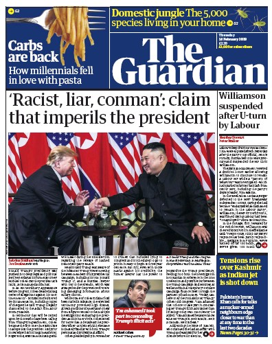 The Guardian Newspaper Front Page (UK) for 1 March 2019