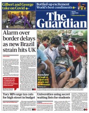 The Guardian (UK) Newspaper Front Page for 1 March 2021