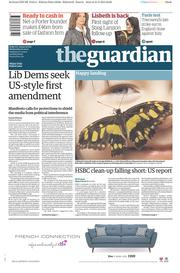 The Guardian (UK) Newspaper Front Page for 1 April 2015