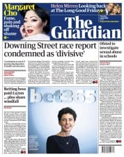 The Guardian front page for 1 April 2021