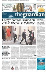 The Guardian (UK) Newspaper Front Page for 1 June 2017