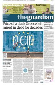 The Guardian (UK) Newspaper Front Page for 1 July 2015