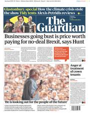 The Guardian (UK) Newspaper Front Page for 1 July 2019
