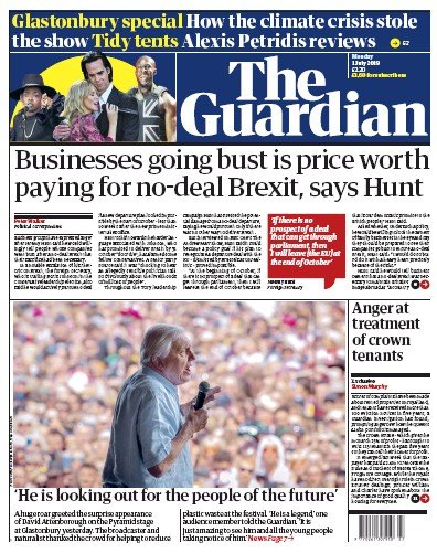 The Guardian Newspaper Front Page (UK) for 1 July 2019