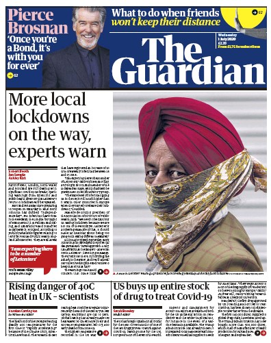 The Guardian Newspaper Front Page (UK) for 1 July 2020