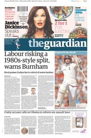 The Guardian (UK) Newspaper Front Page for 1 August 2015