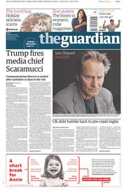 The Guardian (UK) Newspaper Front Page for 1 August 2017
