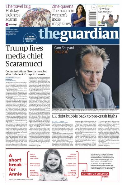 The Guardian Newspaper Front Page (UK) for 1 August 2017