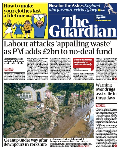 The Guardian Newspaper Front Page (UK) for 1 August 2019