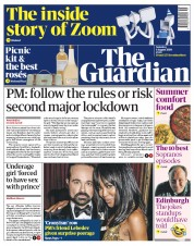 The Guardian (UK) Newspaper Front Page for 1 August 2020