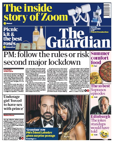 The Guardian Newspaper Front Page (UK) for 1 August 2020