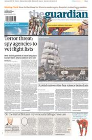 The Guardian (UK) Newspaper Front Page for 1 September 2014