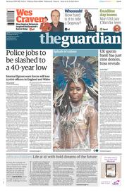 The Guardian (UK) Newspaper Front Page for 1 September 2015