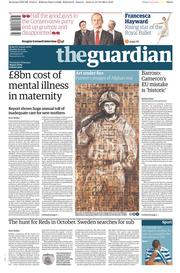 The Guardian (UK) Newspaper Front Page for 20 October 2014