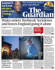 The Guardian (UK) Newspaper Front Page for 20 October 2020