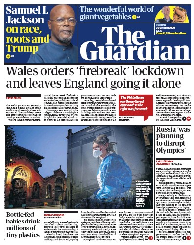 The Guardian Newspaper Front Page (UK) for 20 October 2020
