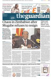 The Guardian (UK) Newspaper Front Page for 20 November 2017