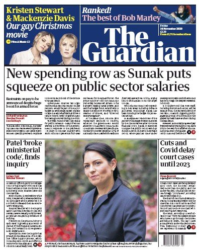 The Guardian Newspaper Front Page (UK) for 20 November 2020