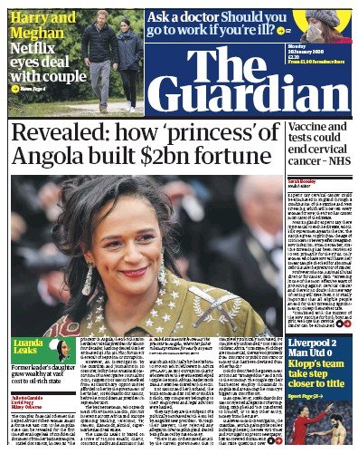 The Guardian Newspaper Front Page (UK) for 20 January 2020