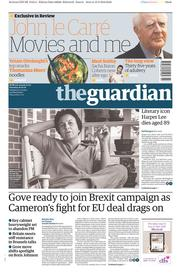 The Guardian (UK) Newspaper Front Page for 20 February 2016