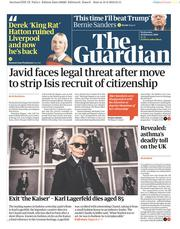 The Guardian (UK) Newspaper Front Page for 20 February 2019