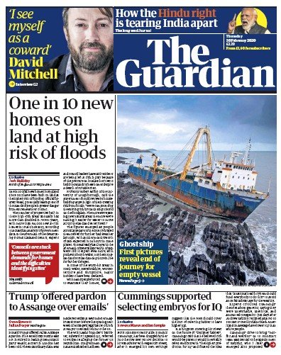 The Guardian Newspaper Front Page (UK) for 20 February 2020