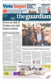 The Guardian (UK) Newspaper Front Page for 20 April 2017