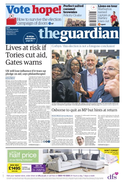 The Guardian Newspaper Front Page (UK) for 20 April 2017