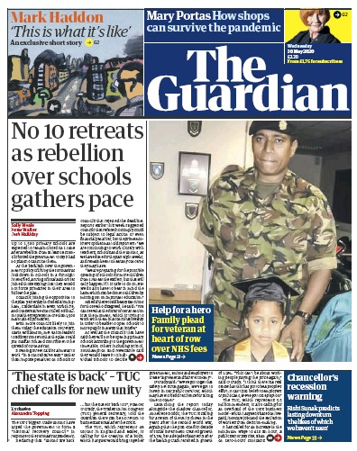 The Guardian Newspaper Front Page (UK) for 20 May 2020