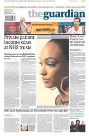 The Guardian (UK) Newspaper Front Page for 20 August 2014