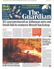 The Guardian (UK) Newspaper Front Page for 20 August 2019