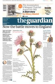 The Guardian (UK) Newspaper Front Page for 20 September 2014