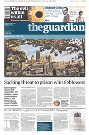 The Guardian (UK) Newspaper Front Page for 21 October 2014