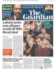 The Guardian (UK) Newspaper Front Page for 21 October 2019