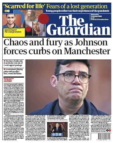 The Guardian Newspaper Front Page (UK) for 21 October 2020