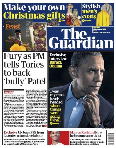 The Guardian Newspaper Front Page (UK) for 21 November 2020