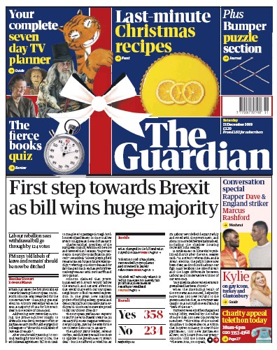 The Guardian Newspaper Front Page (UK) for 21 December 2019