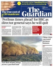 The Guardian (UK) Newspaper Front Page for 21 January 2020