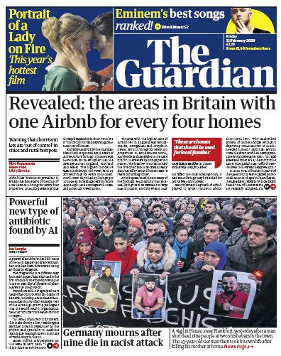 The Guardian Newspaper Front Page (UK) for 21 February 2020