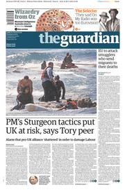 The Guardian (UK) Newspaper Front Page for 21 April 2015